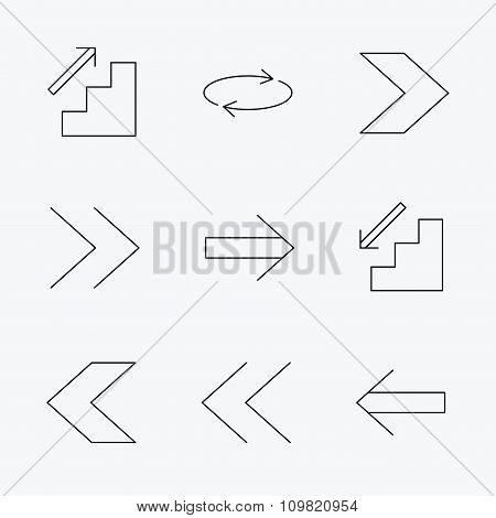 Arrows icons. Upstairs, downstairs and repeat linear signs. Next, back arrows flat line icons. Linear black icons on white background. poster