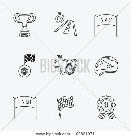 Winner cup and award icons. Race flag signs.