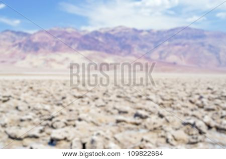 Defocused Background Of Devil's Golf Course In Death Valley, California