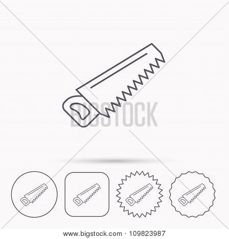 Saw icon. Carpentry equipment sign.