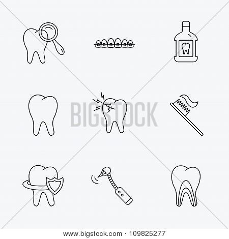 Tooth, dental braces and mouthwash icons.