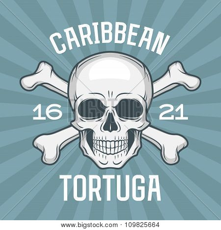 Pirate insignia concept. Caribbean tortuga island vector t-shirt design blue background. Jolly Roger