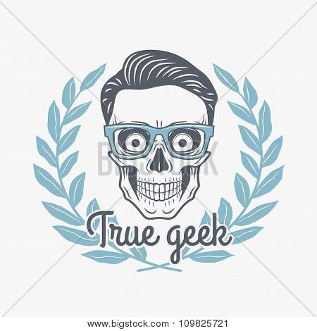 True geek skull vector with hipster glasses and laurel leafs. Crazy deadman insignia template. Smili