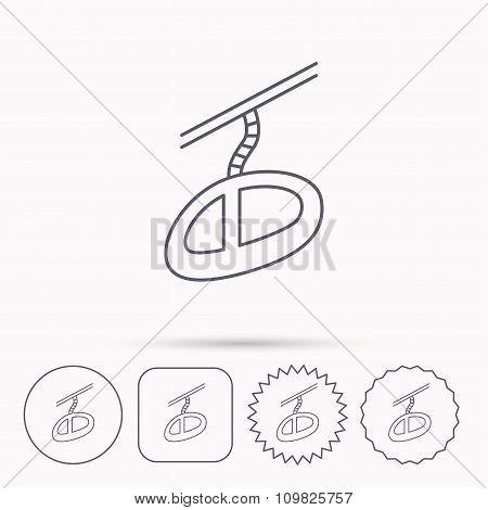 Teleferic icon. Telpher cable-railway sign.