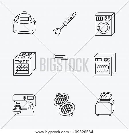 Dishwasher, washing machine and blender icons.