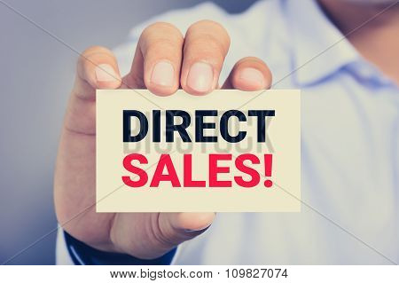 Direct Sales! Message On The Card Shown By A Man