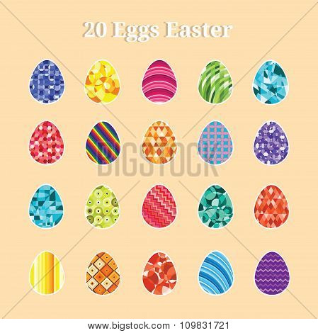 Colorful 20 Eggs Easter
