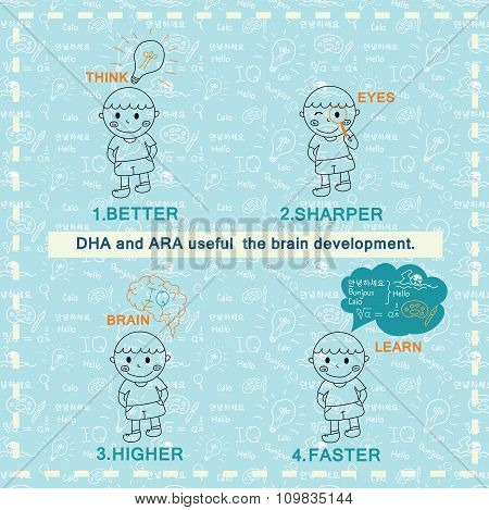 Children Vector Design. Elements Hand Drawing  From Dha And Ara Useful Development For Kid Include P