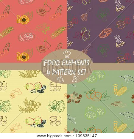 Pattern Colorful Food Elements For Healthy.