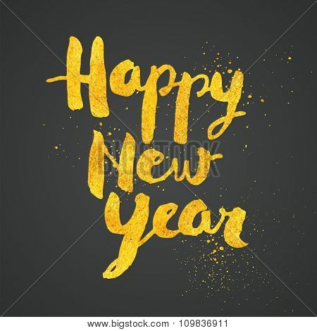 Happy New Year greeting card with gold dust texture - No mesh - EPS10