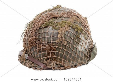 ww2 US military helmet isolated on a white background poster