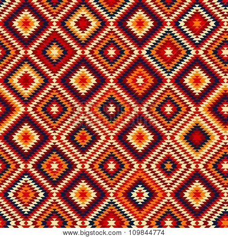 Colorful red yellow blue aztec ornaments geometric ethnic seamless pattern, vector