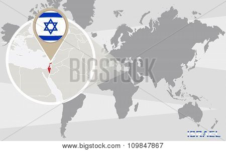 World Map With Magnified Israel