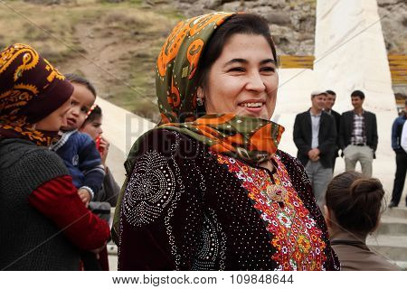 Kov-ata, Turkmenistan - October 18. Portrait Of Unidentified  Asian Woman In A Headscarf. Kov-ata, T