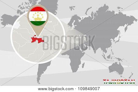 World Map With Magnified Tajikistan