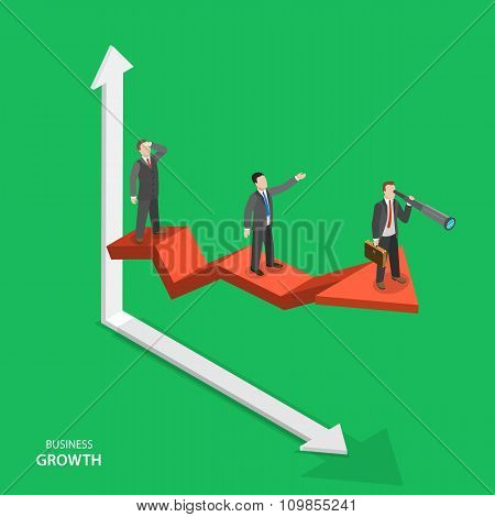 Business growth isometric vector concept.