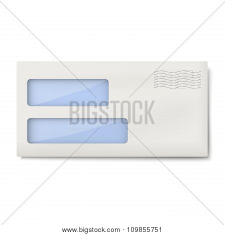 White Blank Dl Envelope With Two Windows For Addressee And Return, Sender's Address Isolated