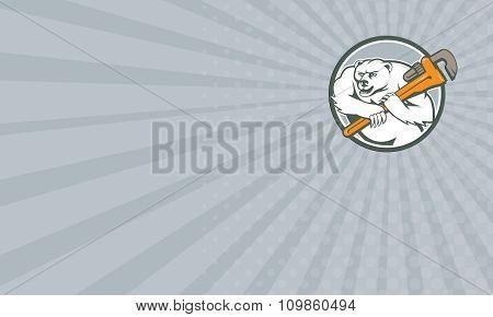 Business Card Polar Bear Plumber Monkey Wrench Circle