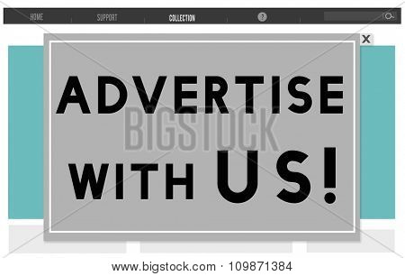 Advertise With Us Commercial Branding Persuade Concept