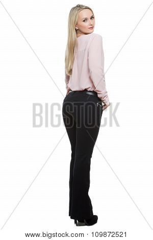 girl in pants and blous.  Isolated on white background. body language. sidelong glance. because of t