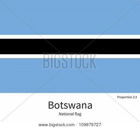 National flag of Botswana with correct proportions, element, colors for education books and official documentation poster