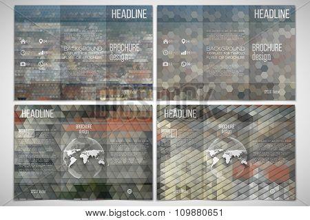 Vector set of tri-fold brochure design template on both sides with world globe element. City landsca