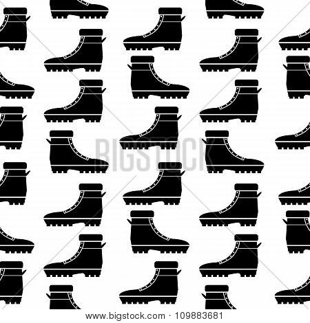 Boot Seamless Pattern On White.
