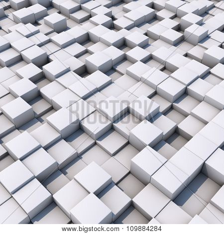 Abstract 3D white cubes surface background.