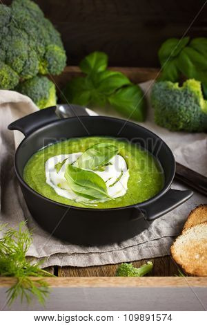 Broccoli Cream Soup On Rustic Background
