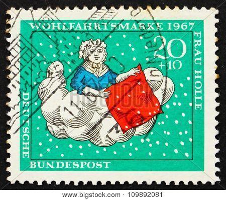 Postage Stamp Germany 1967 Mother Hulda Is Making Her Bed, Scene