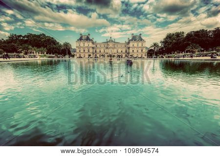 The Luxembourg Palace in Luxembourg Gardens in Paris, France. The residence of the Senate President. Vintage