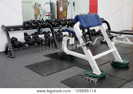 Gym centre interior. Equipment, gym apparatus.  poster