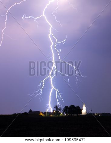 Lightning Bolt At Strom Over Village