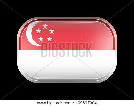 Flag Of Singapore. Rectangular Shape With Rounded Corners