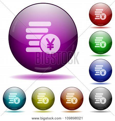 Yen Coins Glass Sphere Buttons
