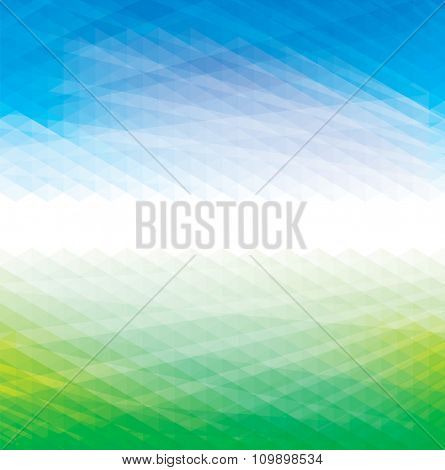 Abstract perspective geometric blue and green background.