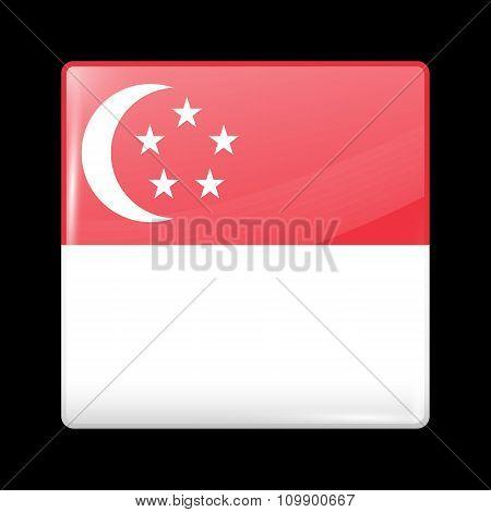 Flag Of Singapore. Glassy Icon Square Shape