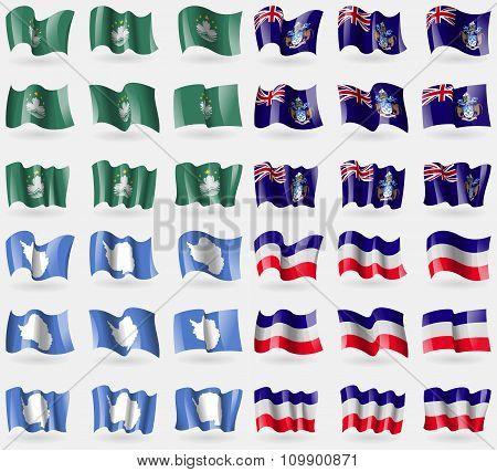 Macau, Tristan Da Cunha, Antarctica, Los Altos. Set Of 36 Flags Of The Countries Of The World.