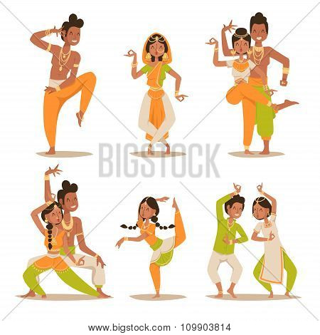 Indian women and man dancing vector isolated