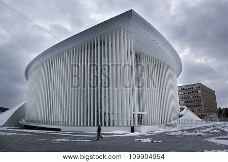 Philharmonic builiding on winter, Luxembourg