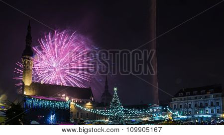 New year's fireworks in Tallinn
