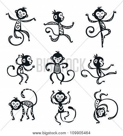 Chinese New Year monkey vector decoration icons