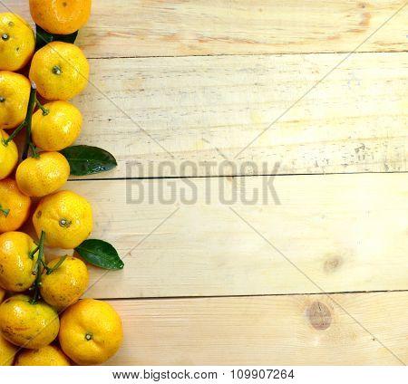 Orange on the wooden floor