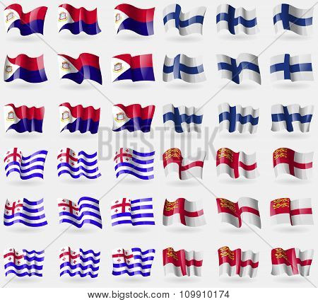 Saint Martin, Finland, Ajaria, Sark. Set Of 36 Flags Of The Countries Of The World.