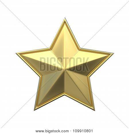Single gold star. 3D render