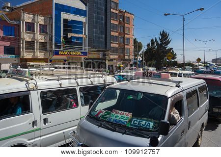 Traffic Jam In The Streets Of La Paz, Bolivia