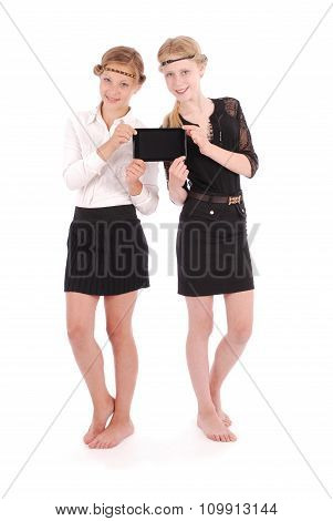 Girls Holding A Tablet Pcs