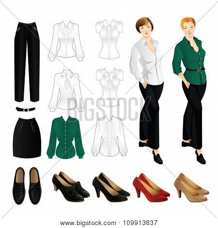 Set of formal clothes. Redhead woman and brunette woman
