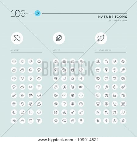 Thin line web icons collection for nature and lifestyle