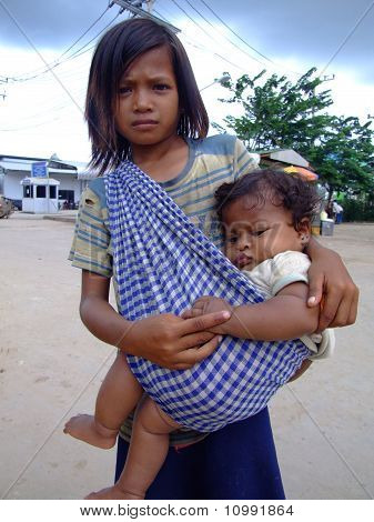 Young girl on Thai Cambodian border.